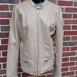 Express Poly Leather Tan Jacket